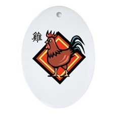 Rooster Oval Ornament