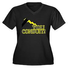 You Conduit Women's Plus Size V-Neck Dark T-Shirt