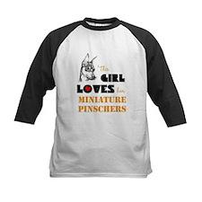Girl Loves her Min Pins Baseball Jersey