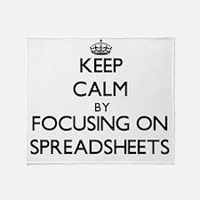 Keep Calm by focusing on Spreadsheet Throw Blanket