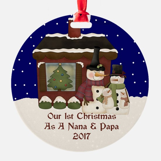 1St Christmas As A Nana And Papa 2017 Ornament