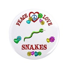 """Peace Love Snakes 3.5"""" Button"""