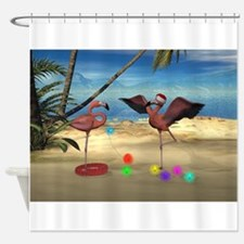 Flamingo Holiday Shower Curtain