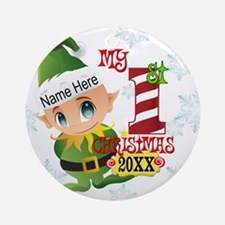 Baby Elf 1st Christmas Ornament (Round)