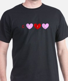 Cure Breast Cancer Red Pink Hearts Trio T-Shirt