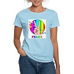 Colorful Peace Symbol Women's Pink T-Shirt
