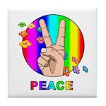 Colorful Peace Symbol Tile Coaster