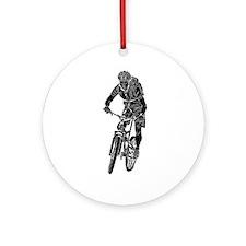 Cute Mountain biking Ornament (Round)