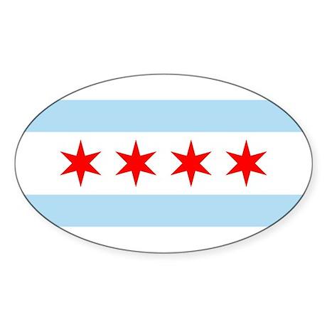 Chicago Flag Oval Sticker