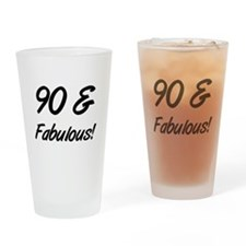 Fabulous 90th Birthday Drinking Glass