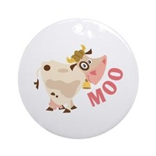 Moo Ornament (Round)