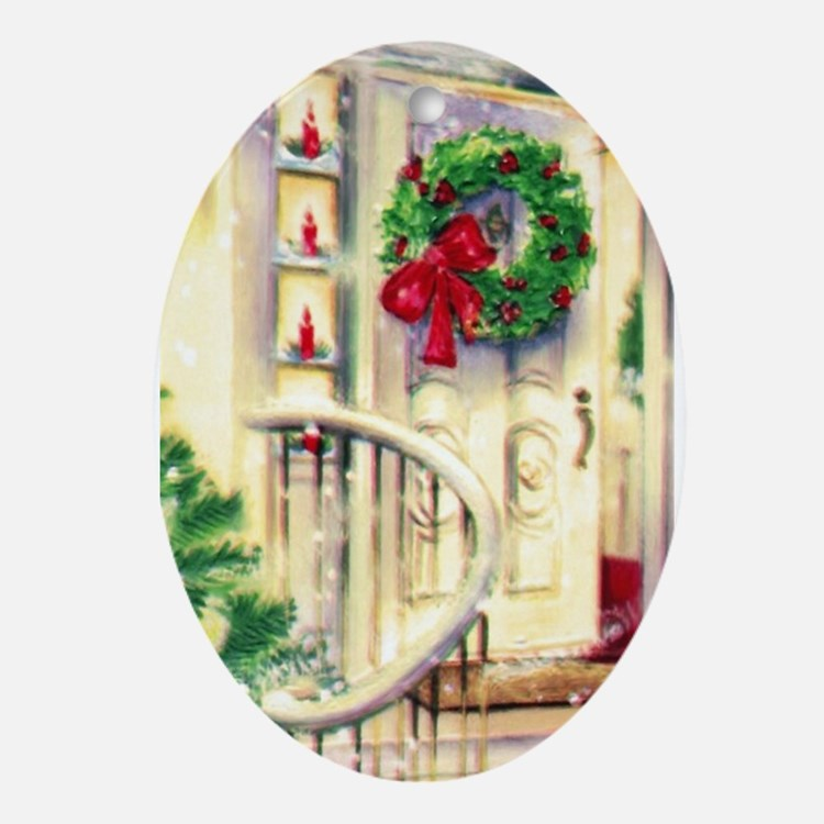Vintage Christmas House Ornament (Oval)