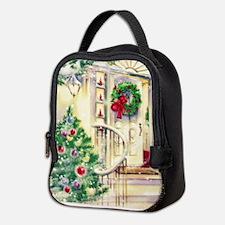 Vintage Christmas House Neoprene Lunch Bag