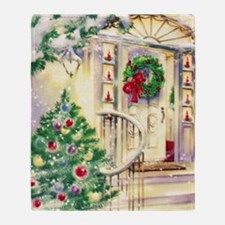 Vintage Christmas House Throw Blanket