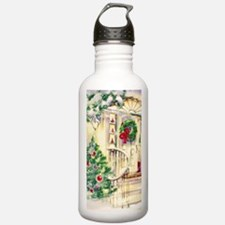 Vintage Christmas House Water Bottle