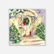 Vintage Christmas House Sticker