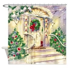 Vintage Christmas House Shower Curtain