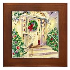 Vintage Christmas House Framed Tile