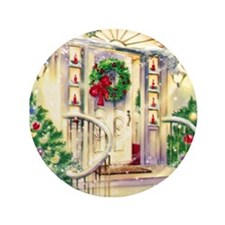 """Vintage Christmas House 3.5"""" Button (100 pack)"""