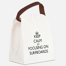 Keep Calm by focusing on Surfboar Canvas Lunch Bag