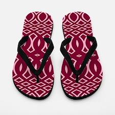 Cranberry Pink Pattern Flip Flops