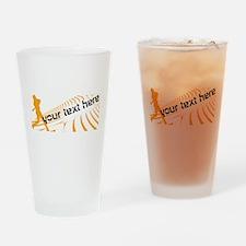Cool Orange Baseball Drinking Glass