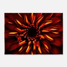 Orange Red Flower Glow 5'x7'Area Rug