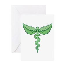 Caduceus with leaves Greeting Cards