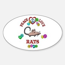 Peace Love Rats Sticker (Oval)