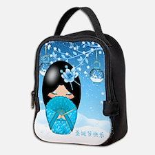 Christmas Kokeshi Doll Neoprene Lunch Bag