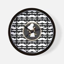 Retro Mustache Owl Chef Wall Clock