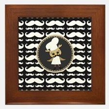 Retro Mustache Owl Chef Framed Tile
