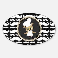 Retro Mustache Owl Chef Sticker (Oval)