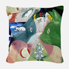 Chagall's Cats Woven Throw Pillow