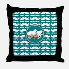 Owl Mustache Chef and Friends Throw Pillow