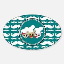 Owl Mustache Chef and Friends Sticker (Oval)