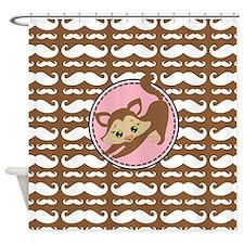 Cute Ragdoll Cat Mustache Shower Curtain
