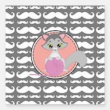 """Cute Ragdoll Cat Mustach Square Car Magnet 3"""" x 3"""""""
