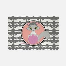 Cute Ragdoll Cat Mustache Rectangle Magnet