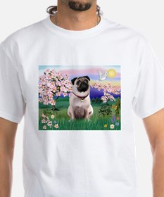 Blossoms Scene with Fawn Pug Shirt
