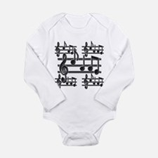 Musical Note Design Long Sleeve Infant Bodysuit