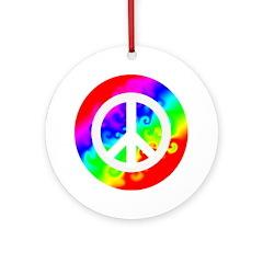 Groovy Rainbow Peace Sign Ornament