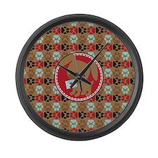 Pawprint Puppy Pattern Large Wall Clock