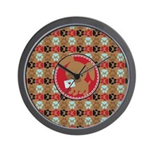 Pawprint Puppy Pattern Wall Clock