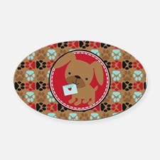 Pawprint Puppy Pattern Oval Car Magnet