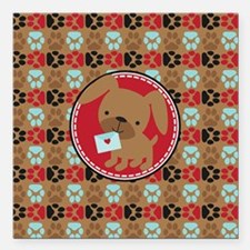 "Pawprint Puppy Pattern Square Car Magnet 3"" x 3"""