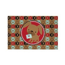 Pawprint Puppy Pattern Rectangle Magnet