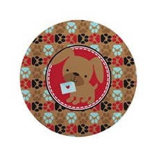 "Pawprint Puppy Pattern 3.5"" Button (100 pack)"