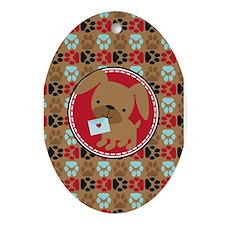 Pawprint Puppy Pattern Ornament (Oval)