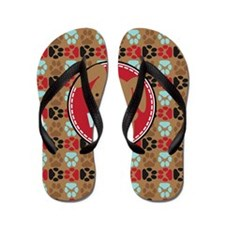 Pawprint Puppy Pattern Flip Flops